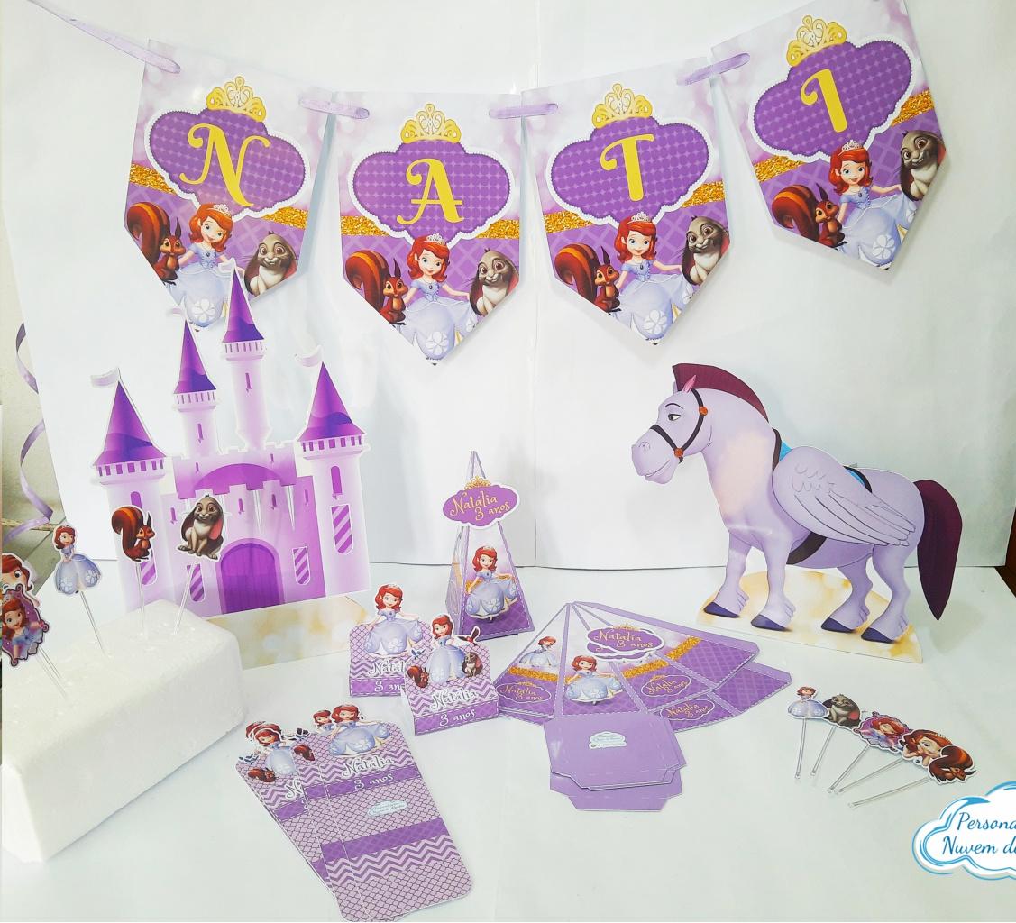 Nuvem de algodão personalizados - Kit só um bolinho Princesa Sofia - Tamanho M