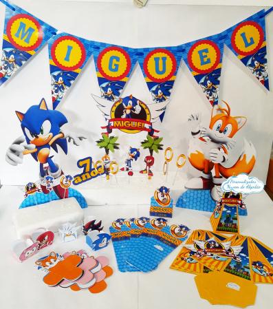 Kit só um bolinho Sonic - Tamanho G-Kit só um bolinho Sonic - Tamanho G   - Topo de bolo - 1 Bandeirola de até 8 letras  - 15 topp