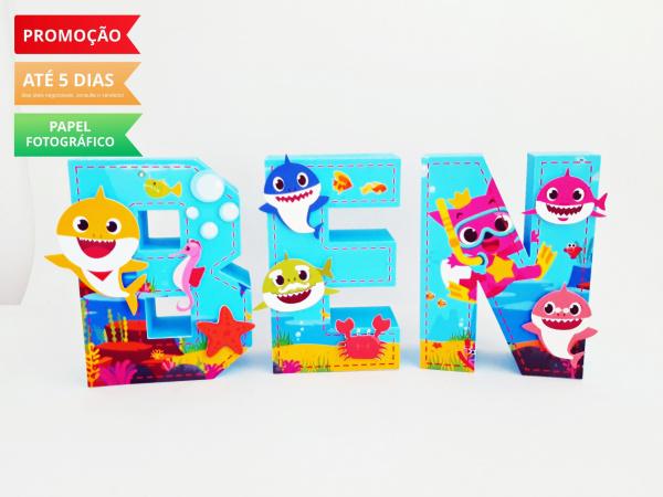 Letra 3d Baby Shark-Letra 3d Baby Shark  Atenção: Valor referente a unidade da letra!  Fazemos em qualquer tema.