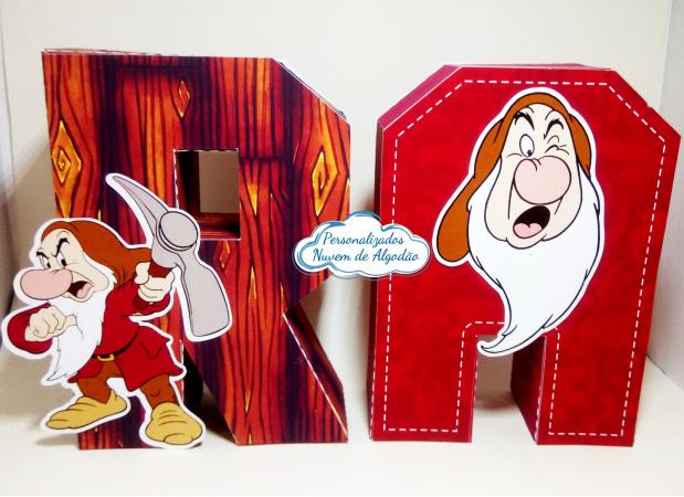 Letra 3d Branca de neve - anão Zangado-Letra 3d Branca de neve - anão Zangado  Atenção: Valor referente a unidade da letra!  Fazemos
