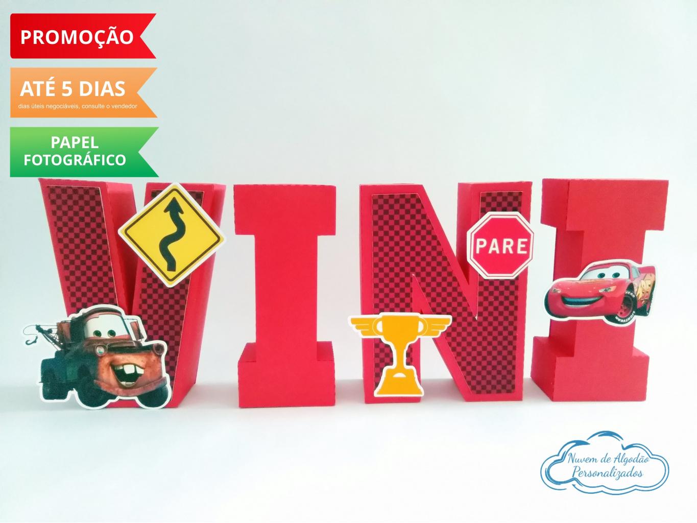 Nuvem de algodão personalizados - Letra 3d Carros - vermelho