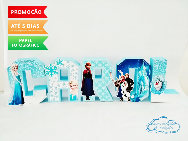 Letra 3d Frozen-Letra 3d Frozen  Atenção: Valor referente a unidade da letra!  Fazemos em qualquer tema. Envi