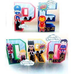 Letra 3d Heróis cute