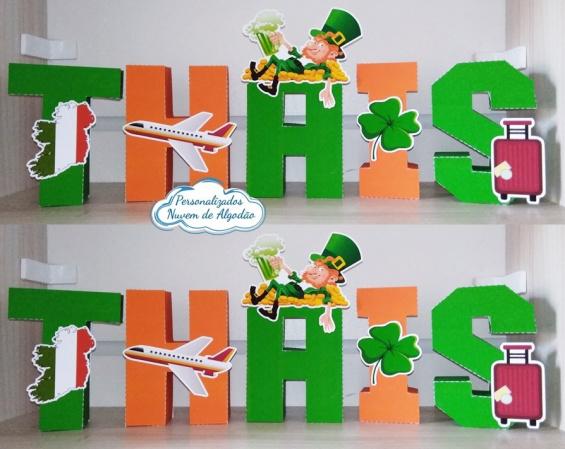 Letra 3d Irlanda-Letra 3d Irlanda  Atenção: Valor referente a unidade da letra!  Fazemos em qualquer tema. Env