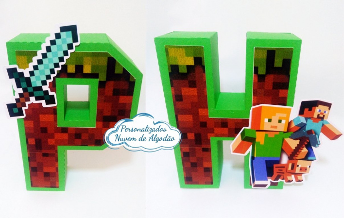 Letra 3d Minecraft-Letra 3d Minecraft  Atenção: Valor referente a unidade da letra!  Fazemos em qualquer tema. E