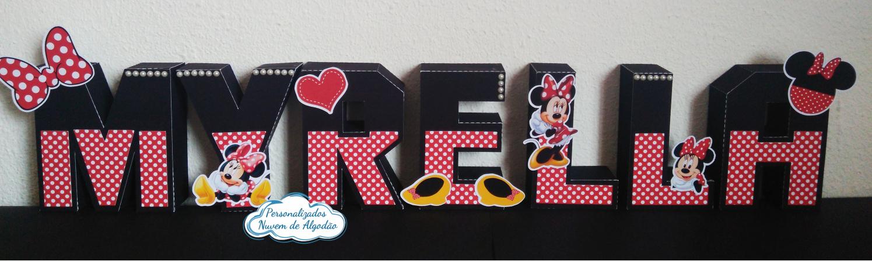 Letra 3d Minnie Vermelha-Letra 3d Minnie Vermelha Fazemos em qualquer tema. Envie nome e idade para personalização.  -