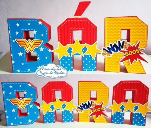 Letra 3d Mulher maravilha-Letra 3d Mulher maravilha   Atenção: Valor referente a unidade da letra!  Fazemos em qualquer