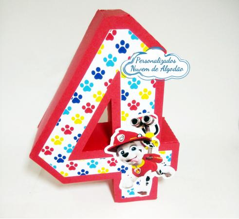 Letra 3d Patrulha Canina - Numero 4-Letra 3d Patrulha Canina - Numero 4 Atenção: Valor referente a unidade da letra!  Fazemos em qu