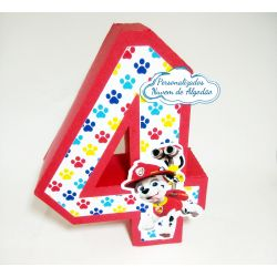 Letra 3d Patrulha Canina - Numero 4