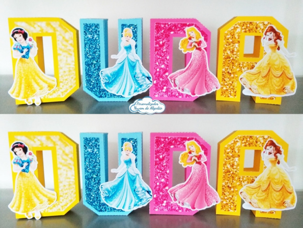 Letra 3d Princesas-Letra 3d Princesas Atenção: Valor referente a unidade da letra!  Fazemos em qualquer tema. Env