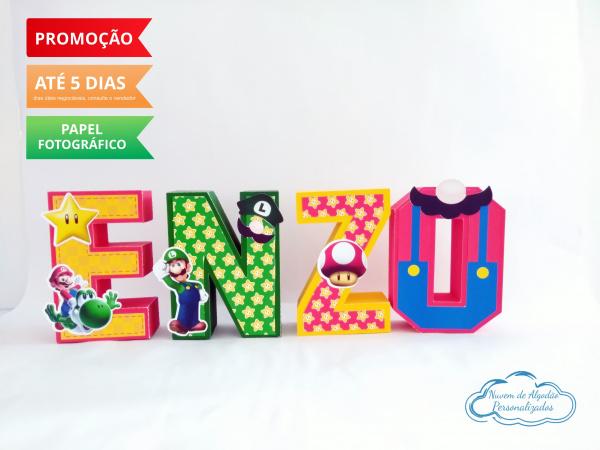 Letra 3d Super Mario bros-Letra 3d Super Mario bros Atenção: Valor referente a unidade da letra!  Fazemos em qualquer tem
