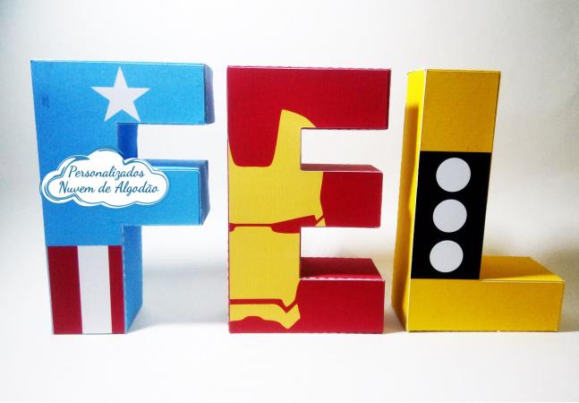 Letra 3d Vingadores - Capitão América-Letra 3d Vingadores - Capitão América  Atenção: Valor referente a unidade da letra!  Fazemos