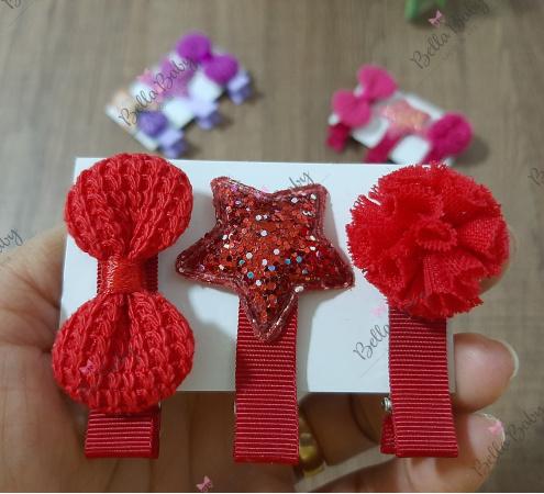 Par hair clips vermelho-Trio hair clips  Temos várias combinações e modelos.    Por se tratar de um produto artesanal