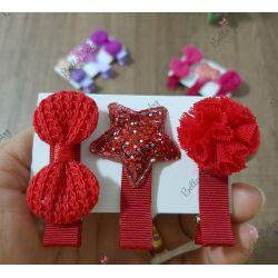Par hair clips vermelho