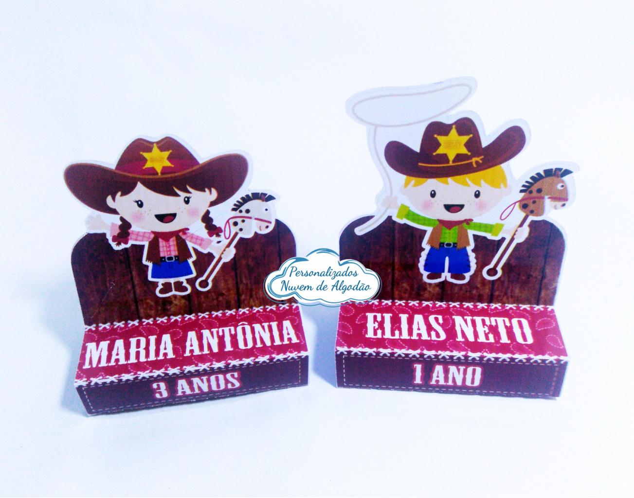 Nuvem de algodão personalizados - Porta bis duplo Cowboy - menino e menina