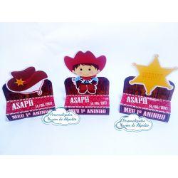 Porta bis duplo Cowboy - chapéu, menino e estrela dourada
