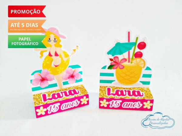Porta bis duplo Flamingo e Abacaxi-Porta bis duplo Flamingo e Abacaxi Fazemos em qualquer tema. Envie nome e idade para personalizaç