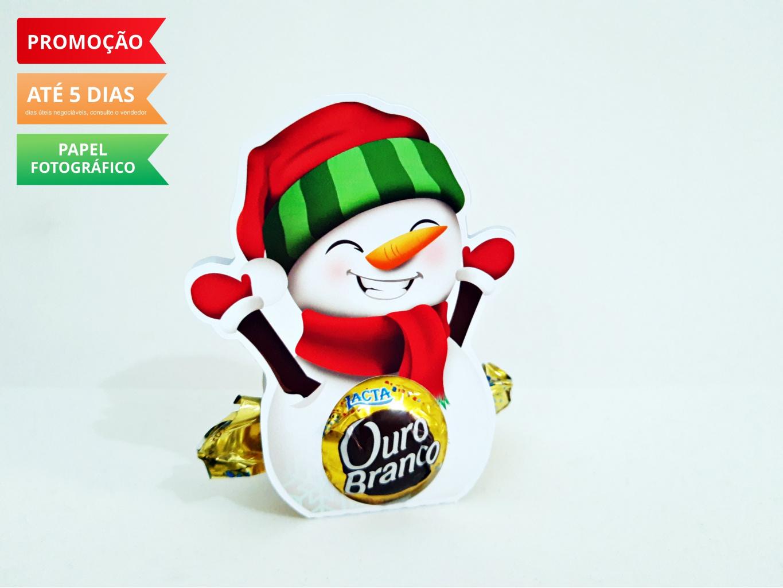 Nuvem de algodão personalizados - Porta bombom Natal - Boneco de Neve