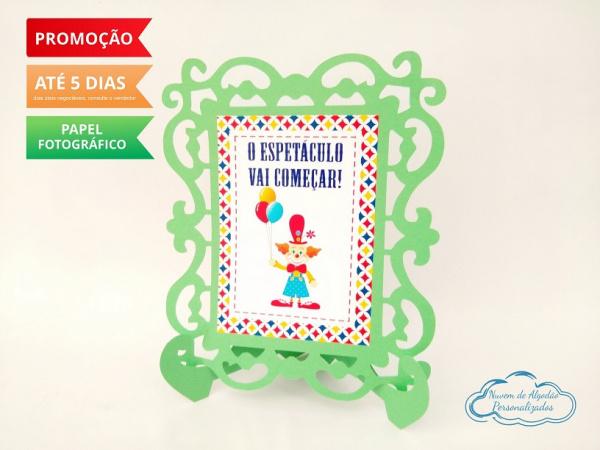 Porta retrato Circo - Verde-Porta retrato Circo - Verde  Fazemos todos os temas e cores.  Na hora do seu pedido informe os d