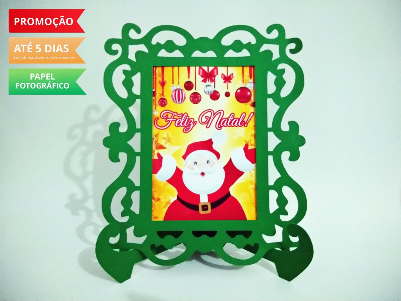 Nuvem de algodão personalizados - Porta Retrato Natal - Papai Noel
