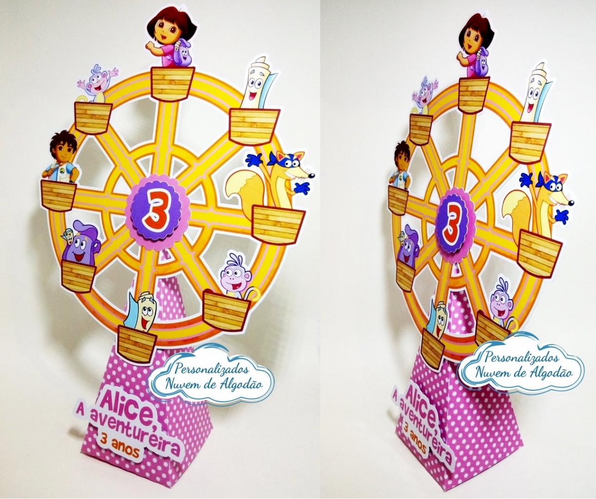 Nuvem de algodão personalizados - Roda gigante Dora aventureira