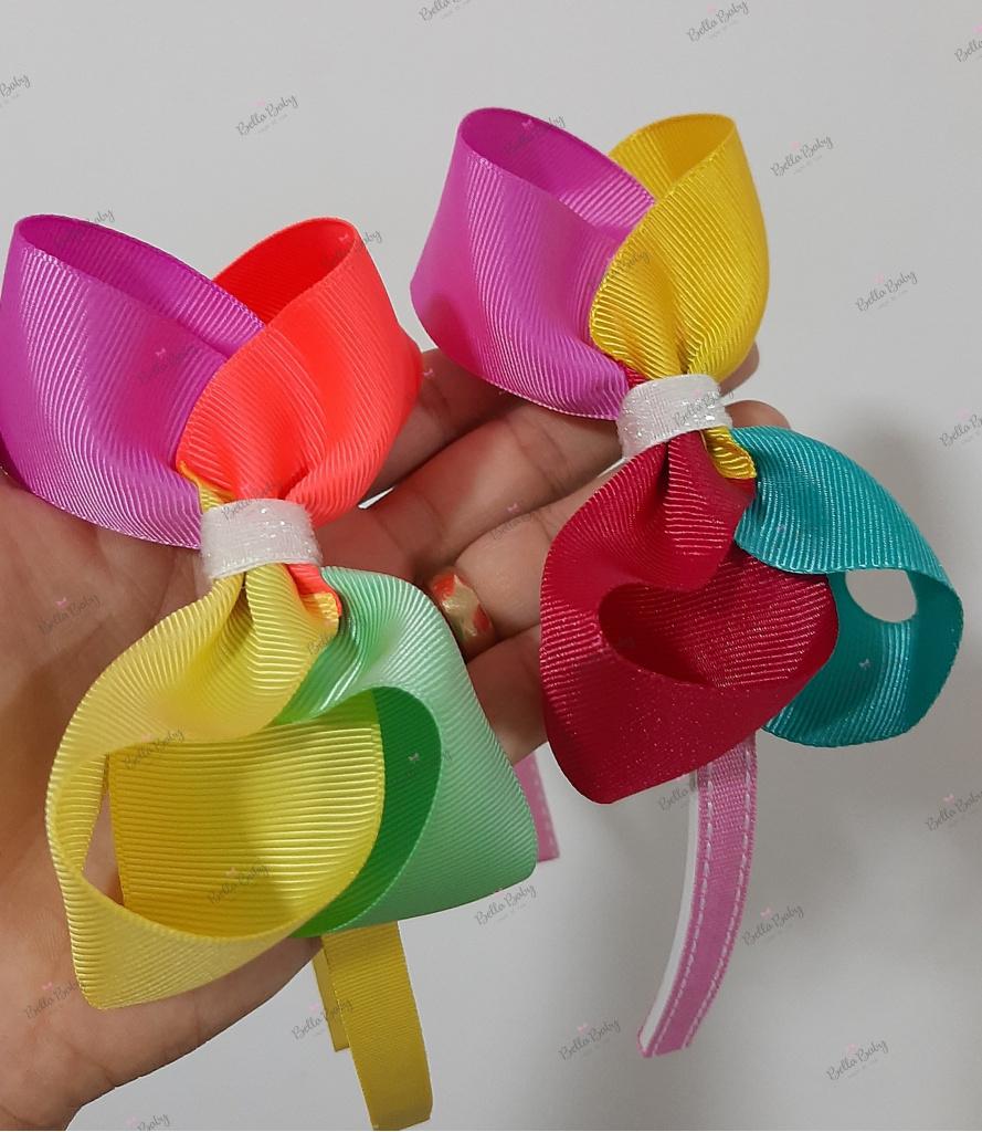 Bella Baby Laços de fita - Tiara com laço boutique colorido
