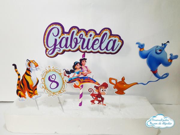 Topo de bolo Aladdin-Topo de bolo Aladdin  - Papel fotográfico glossy 230g - Acompanham os palitos