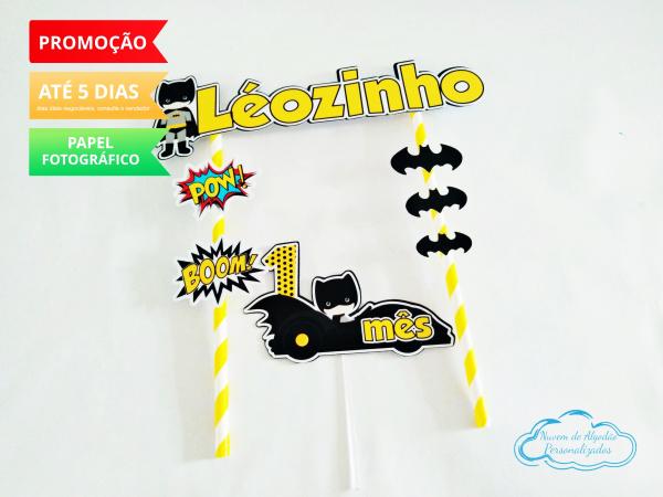 Topo de bolo Batman Baby-Topo de bolo Batman Baby  - Papel fotográfico glossy 230g - Acompanham os palitos