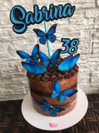 Topo de bolo Borboleta Azul-Topo de bolo Borboleta Azul  - Papel fotográfico glossy 230g - Acompanham os palitos