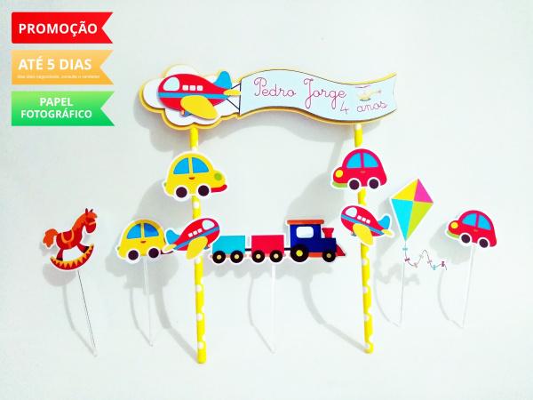 Topo de bolo Brinquedos-Topo de bolo Brinquedos  - Papel fotográfico glossy 230g - Acompanham os palitos