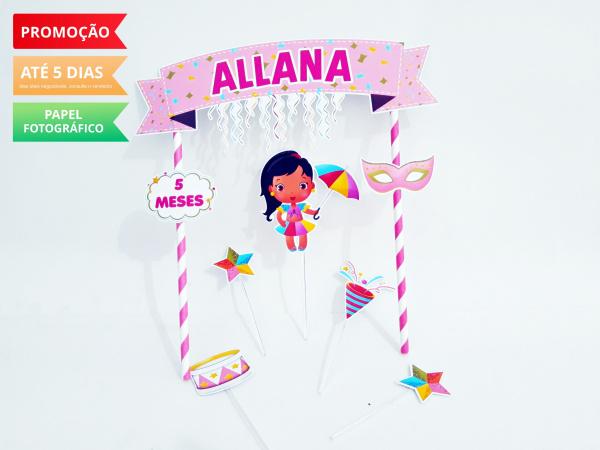 Topo de bolo Carnaval-Topo de bolo Carnaval  - Papel fotográfico glossy 230g - Acompanham os palitos