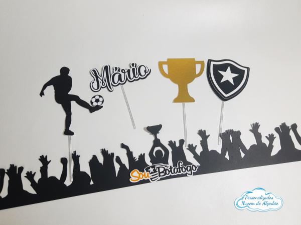 Topo de bolo com faixa Botafogo-Topo de bolo com faixa Botafogo  - Nos informe os dados para personalização após pagamento. -