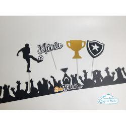 Topo de bolo com faixa Botafogo