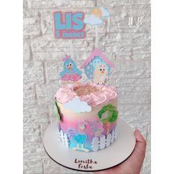 Topo de bolo com faixa Galinha pintadinha rosa