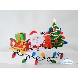 Topo de bolo com trenó e presentes 3d Natal