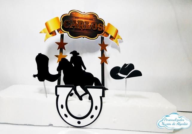 Topo de bolo Cowboy-Topo de bolo Cowboy  - Papel fotográfico glossy 230g - Acompanham os palitos - Detalhes em dour