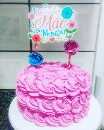 Topo de bolo Dia das mães-Topo de bolo Dia das mães  - Papel fotográfico glossy 230g - Acompanham os palitos