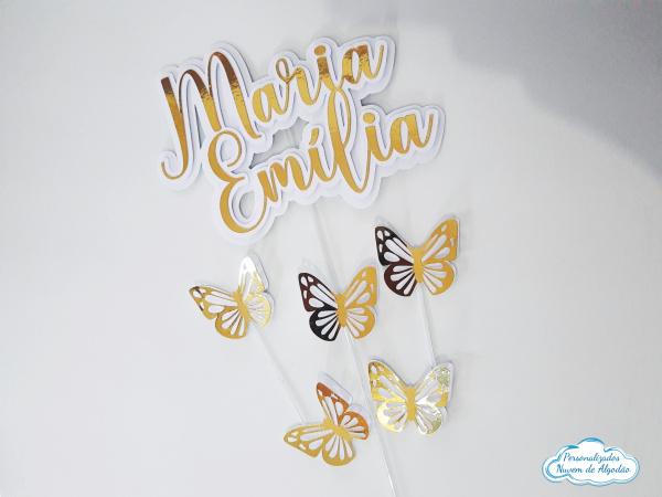 Topo de bolo Dourado e branco borboletas-Topo de bolo Dourado e branco borboletas  - Nos informe os dados para personalização após pagam