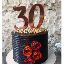 Topo de bolo dourado idade grande com 4 flores simples
