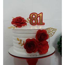 Topo de bolo dourado mix de flores