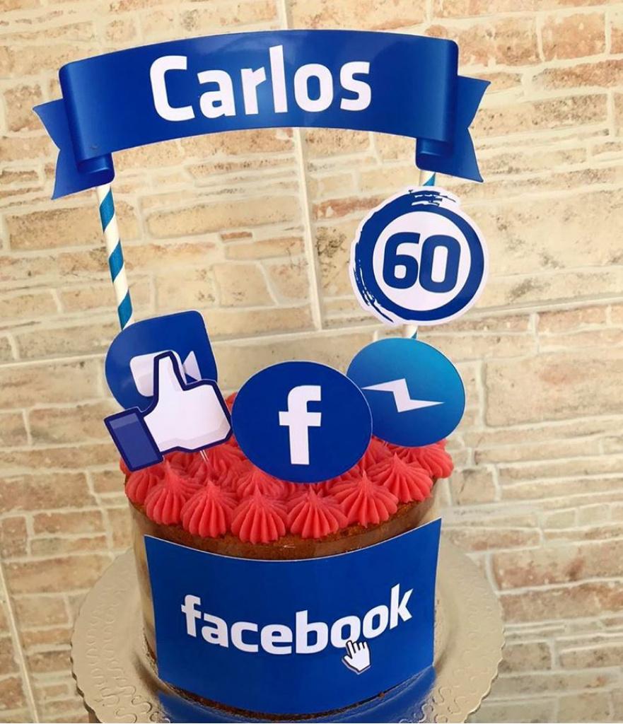 Nuvem de algodão personalizados - Topo de bolo Facebook