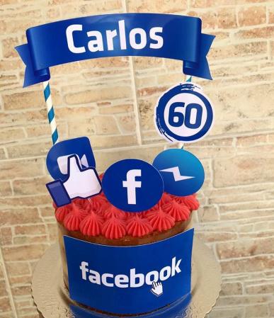 Topo de bolo Facebook-Topo de bolo Facebook  - Papel fotográfico glossy 230g - Acompanham os palitos