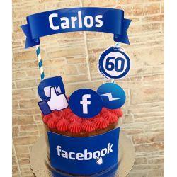 Topo de bolo Facebook