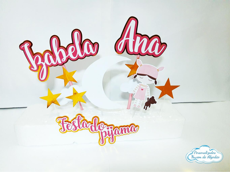 Nuvem de algodão personalizados - Topo de bolo Festa do pijama
