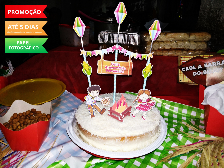 Nuvem de algodão personalizados - Topo de bolo Festa Junina