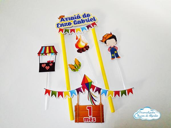 Topo de bolo Festa junina - menino-Topo de bolo Festa junina - menino  - Nos informe os dados para personalização após pagamento.