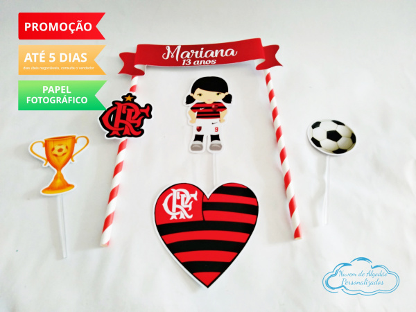 Topo de bolo Flamengo-Topo de bolo Flamengo  - Papel fotográfico glossy 230g - Acompanham os palitos