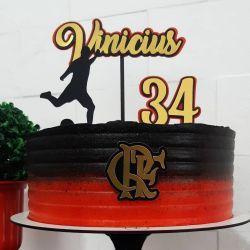 Topo de bolo Flamengo dourado