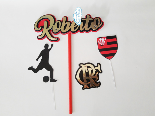 Topo de bolo Flamengo escudo-Topo de bolo Flamengo escudo  - Nos informe os dados para personalização após pagamento. - Pap
