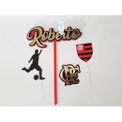 Topo de bolo Flamengo escudo
